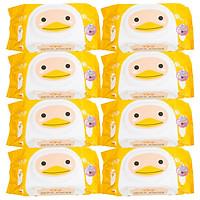 Combo 8 Gói Khăn Ướt AGI Không Mùi Hình Vịt Vàng (100 tờ x 8 gói)