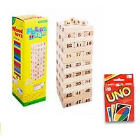 Bộ đồ chơi rút gỗ số 48 thanh tặng kèm bài uno