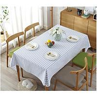 Khăn trải bàn vải bố - Caro blue trắng nhỏ - mẫu N04