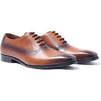 Giày nam buộc dây, phong cách giày tây công sở Plaintoe Oxford H1PO2M1 da bò Ý, chính hãng Banuli