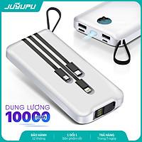 Pin sạc dự phòng JUYUPU PG101 đa năng kèm dây sạc Micro iPhone Type C chân USB 2 mặt đèn pin dành cho Samsung OPPO VIVO HUAWEI XIAOMI - HÀNG CHÍNH HÃNG