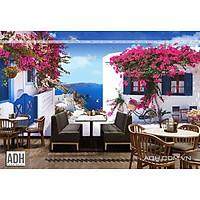 Tranh dán tường canvas hình hoa cho quán cafe, trà sữa ADHW091902