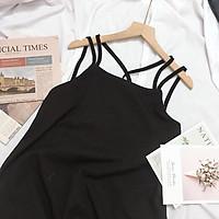 Đầm maxi đi biển hai dây đan lưng chất vải đũi lụa mềm mịn - CM Shop