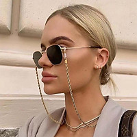 Fashion Chain Metal Twist Neck Wear Shiny Anti-skid Glasses Chain Sunglasses Accessories Anti-loss Cord