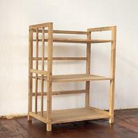 kệ để đồ từ gỗ tự nhiên, thiết kế 3 tầng chắc chắn, sắp xếp đồ dùng gọn gàng, ngăn nắp