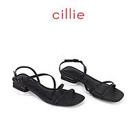 Giày sandal nữ mũi vuông quai dây thời trang du lịch đi chơi với màu pastel mới nhất gót phủ bạc cao 2cm Cillie 1160