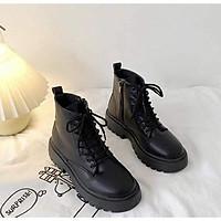 Giày boots cao cổ nữ ulzzang khóa kéo cao 3cm có lót lông (ảnh thật)