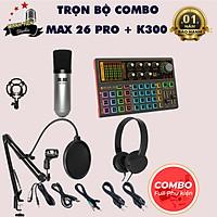 Bộ Combo livestream, thu âm Big Max 26 pro Sound card K300 - Kèm full phụ kiện kẹp micro, màng lọc, dây livestream ma1, tai nghe chụp tai - Thu âm, livestream, karaoke online 3 điện thoại cùng lúc - Giao màu ngẫu nhiên - Hàng nhập khẩu