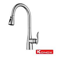 Vòi rửa bát rút dây Konox, Model KN1902, Inox 304AISI tiêu chuẩn châu Âu, mạ PVD 5 lớp sáng bóng, Hàng chính hãng