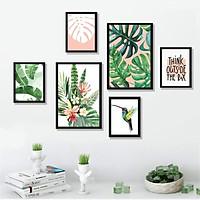 Tranh treo tường phòng khách, phòng ăn - Bộ 06 Tranh treo tường chủ đề Tropical nhiệt đới, Tặng kèm khung tranh và đinh treo tranh miễn phí - TP168