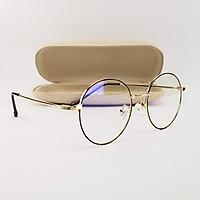 Gọng kính nam nữ mắt cận tròn màu đen, bạc, vàng hồng chất liệu kim loại SA9011. Tròng giả cận 0 độ chống ánh sáng xanh, chống nắng và tia UV