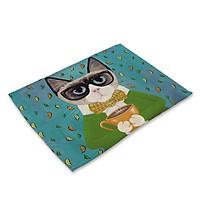 Tấm Lót Bàn Ăn Cao Cấp Con Mèo - TL74