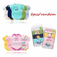 5 Pcs/set Baby Jumpsuit Cotton Short-sleeved Triangle Romper For 0-1 Years Old Babies
