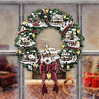 Christmas Tree Rotating Sculpture Train Decor Window Paste Stickers Type C