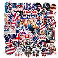 Set 60 Sticker nước Mỹ America ảnh decal hình dán ép lụa