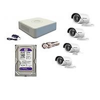 Trọn bộ 4 camrea DS-2CE16D0T-IRP + DS-7104HQHI-K1 + HDD WESTERN 500GB - Hàng Chính Hãng