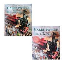 Combo Song Ngữ Harry Potter And The Philosopher's Stone - Illustrated UK Edition - Harry Potter Và Hòn Đá Phù Thủy (Bản Đặc Biệt Có Tranh Minh Họa Màu)