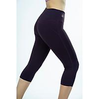 Quần lửng legging thể thao nữ trơn chỉ nổi nâng mông màu Tím ruốc - QL504
