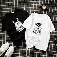 Áo thun Nam Nữ Không cổ CON CHÓ CON CIMT-0010 mẫu mới cực đẹp, có size bé cho trẻ em / áo thun Anime Manga Unisex Nam Nữ, áo phông thiết kế cổ tròn basic cộc tay thoáng mát