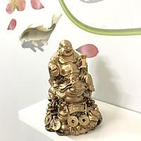 Tượng đá Phật Di Lặc cưỡi cóc Thiềm Thừ trang trí Phong Thủy - màu Nhũ vàng - Cao 12cm
