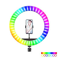 RGB LED Selfie Round Light USB RingLight with Phone Clip Photographic Lighting Phone Photography Video Makeup Lamp