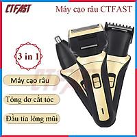 Máy cạo râu 3 lưỡi CTFAST-1608 ( Model 2021) : Máy cạo đa năng 3 trong 1 ( cạo râu, tông đơ cắt tóc, tỉa lông mũi ), thiệt kế nhỏ gọn pin sạc tiện dụng - Hàng chính hãng