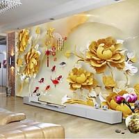 Tranh dán tường 3D - tranh ngọc Vải lụa kim tuyến kích thước theo yêu cầu (KT 210x312cm)