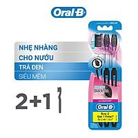 Bàn chải Oral-B Tinh chất trà đen Vỉ 3 cái (Mua 2 tặng 1)