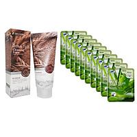 Combo Sữa Rửa Mặt Chiết Xuất Từ Gạo 3W Clinic Brown Rice Foam Cleansing và Bộ 10 gói mặt nạ dưỡng ẩm da chiết xuất nha đam 3W Clinic Fresh Aloe Mask Sheet