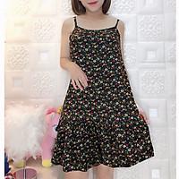 Váy HAI DÂY HOA NHÍ chất Lanh mát lạnh, họa tiết siêu đẹp