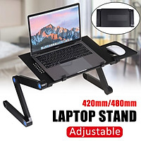 42/48 x 26cm(360°Adjustable) Foldable Desk Multi-Fuction Laptop Stand Computer Cooling Desk Home Bed Tray Table Stand W/ Removable Mouse Holder For Notebook Eye-Level Portable Desk