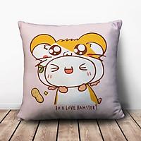 Gối Ôm Vuông Bánh Bao Cỏ Đội Nón Hamster GVFU514 (36 x 36 cm)