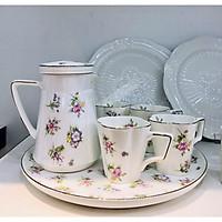 Bộ trà sứ xương cao cấp khập khẩu cốc cao hoa nhí LOVE FLOWER 5545