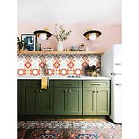 Decal gạch bông in UV Set 4 tờ Bình Minh B -Cam đỏ 40x60cm Dán trang trí bếp
