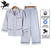 Bộ pijama nam dài tay trung niên vải cotton mặc mát thoải mái cho người già loại bộ đồ trung niên pijama mặc nhà loại sọc (Giao ngẫu nhiên)