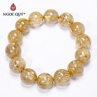 Vòng tay trơn đá thạch anh tóc vàng size hạt 15mm mệnh thủy, kim - Ngọc Quý Gemstones