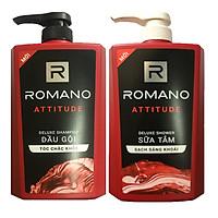 Bộ Dầu gội Romano Atitude 650ml+Sữa tắm Romano 650ml+Tặng 5 gói dầu gội