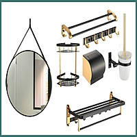 Bộ phụ kiện phòng tắm PKGM03 7 món phong cách châu Âu cổ điển sang trọng có gương dây da