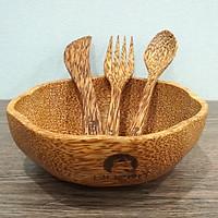 Set Tô gỗ dừa Bát gỗ dừa và muỗng Buzen - Hình Hoa Mai ( Coconut wood bowls)