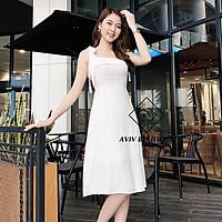 Đầm hai dây dáng xòe chất liệu vải đũi nhẹ mát bigsize váy đầm nữ đẹp đi biển giá rẻ