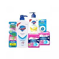 Bộ sản phẩm Chăm sóc toàn diện cho gia đình Safeguard - Whisper - OralB