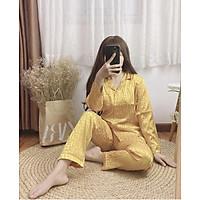 Đồ bộ ngủ mặc nhà Pjiama Lụa Gấm tay dài quần dài họa tiết chìm dưới 62kg cho bạn nữ cực sang trọng