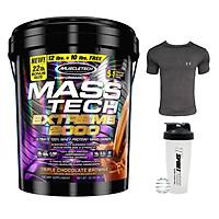 Combo Sữa tăng cân MASS TECH EXTREME 2000 của MuscleTech hương chocolate thùng 10kg hỗ trợ tăng cân tăng cơ nhanh cho người gầy kén ăn, khó hấp thu, khó tăng cân & Bình lắc 600 ml (Màu Ngẫu Nhiên) & Áo Gym size M