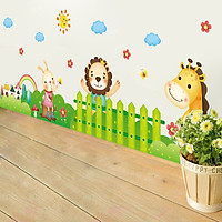 Decal dán tường hàng rào động vật cho bé ZOOYOO XL7181
