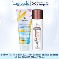 Bộ đôi Gel mặt nạ hồng sâm giảm mụn đầu đen Hàn Quốc Lagivado Dr. Red Ginseng 50 ml và sữa rửa mặt Creamy Foam 50ml