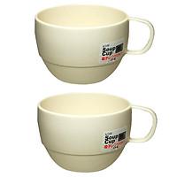 Combo 2 Cốc uống nước dáng thấp cao cấp Inomata màu trắng sữa nội địa Nhật Bản