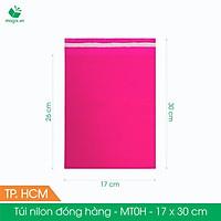 MT0H - 17x30 cm - Túi nilon gói hàng - 100 túi niêm phong đóng hàng màu hồng