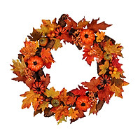 16 Inch Fall Wreath, Autumn Maple Leaf Harvest Thanksgiving Door Wreath for Front Door with Pumpkins, Pinecone and Berry
