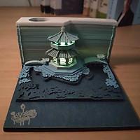 Mô hình ngôi chùa cao cấp bằng giấy màu xanh dương