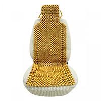 Đệm lót ghế ô tô cao cấp hạt gỗ pơ mu – đặc ruột 1,5cm  Có Gối Đầu  - Vàng Nâu